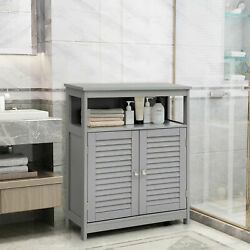 DORTALA Bathroom Storage Cabinet Wood Floor Cabinet w Double Shutter Door Gray