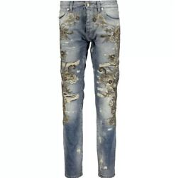 7870 Dolce And Gabbana Runway Baroque Distressed Embellished Jeans Made In Italy