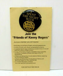 Vintage I Spent The Night With Kenny Rogers Button Pin And Friends Coupon Card