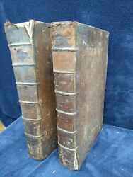 2 Of 2 Rare 1732 Antique Bible Books London Symon Patrick Ely Bishop Leather Old