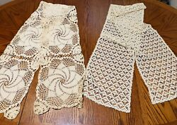Lot Of 2 Antique/ Vintage Table Runners Handwork