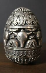 Vintage Ag 999 Solid Sterling Silver Egg Made In Greece Bulls Steers And Women