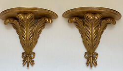Gilt Wood Pair Palm Frond French Neoclassical Wall Sconce Brackets Corbels Shelf
