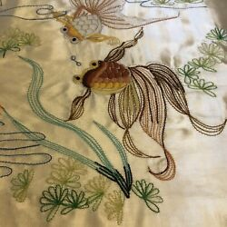 Vintage Koi Fish Ivory Embroidered Throw Pillow Cover Asian Oriental Feng Shui