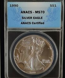 Low Pop 1990 Anacs Ms70 American Silver Eagle - Top Ebayer Since 2005 Free Ship