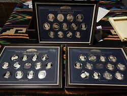 36 +1 Presidential Silver Medals White House Historical Assoc. W/ Case And Coa