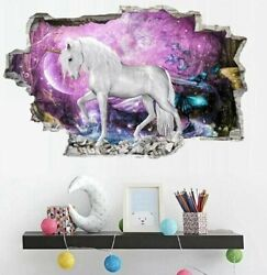 Removable Wall Stickers 3D Unicorn Horse Art Mural Decals Living Room Home Decor