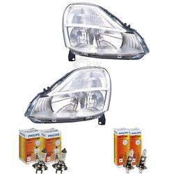 Headlight Set For Renault Mode Year 08- Facelift Valeo H7 +h1 Incl. Lamps