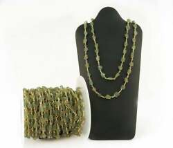 Apatite Green Rough Gemstone Beads Wire Wrap Rosary Connecting Chain For Jewelry