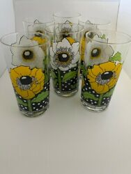Vintage Georges Briard Highball Collins Glasses Polka Poppy Free Shipping