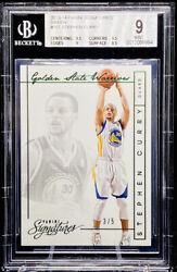 Stephen Curry 2013-14 Panini Signatures Green /5 Golden State 157 Bgs 9 Pop 1