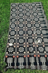 Antique Indigo Blue White And Red Woven Pine Tree Design Coverlet 35 X 70 As Is