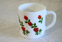 Arcopal Made In France Red Roses Milk Glass White Coffee Cup / Mug