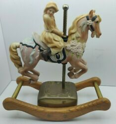 Vintage Willitts Carousel Waltz Rocking Horse Music Box Hand Painted 8 Tall '87
