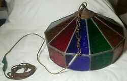 Vintage Stained Glass Hanging Light Fixture Metal Pendant Swag Lamp Lead Works