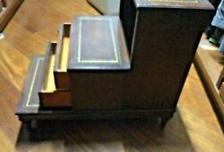 Vintage Antique Wood Andleather 2 Drawer Bedside Library Step Stool With Wheels