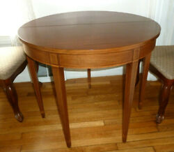 Richmond Biggs Furniture Inlaid Mahogany Round Flip Top Game End Dinning Table