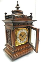 Antique Mahogany Carved Oak 8-day Bracket Mantel Clock Made In Germany By Wandh