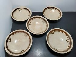 Vintage Japanese Footed Rice/soup Bowls Set Of 5 Brown Stripe With Bamboo Basket