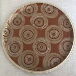 Beige Sage Ivory Circles On Terracotta Denby Fire Chilli Ceramic Serving Plate