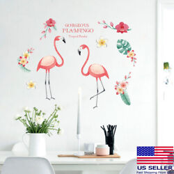 Removable Wall Decal pink flamingos Girl Sticker Home Living Room Bedroom Decor