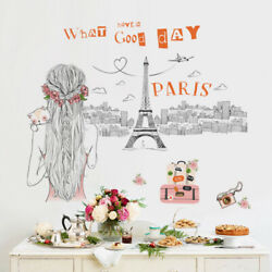 Removable Wall Decal Paris Eiffel Girl Sticker Bedroom Home Living Room Decor