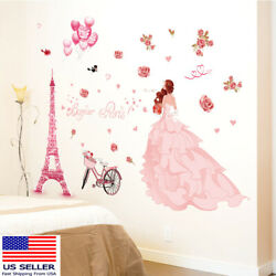 Removable Wall Decal Paris Eiffel Girl Bedroom Sticker Home Living Room Decor