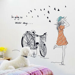 Removable Wall Decal BICYCLE Girl Sticker Home Bedroom Living Room DIY Decor