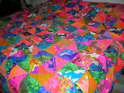 Hawaiian Quilt 100 Hand Quilted King Size Bedspread 1970's