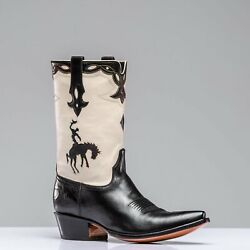 Stallion Boots Big Bronc Boot In White And Black
