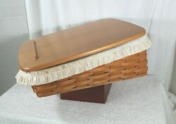 Longaberger Tapered Paper Tray Medium Bin Basket , Wood Lid And Fabric Liner