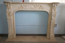 Hand Carved Beige Marble Fireplace With Exquisite Fine Detail And Design
