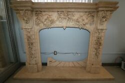 Hand Carved Large Beige Marble Fireplace With Exquisite Fine Detail And Design