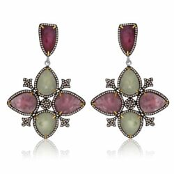 47.22 Ct Multi Slice Sapphire And Diamond 18k Gold And Sterling Drop Earrings