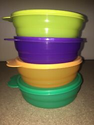 Tupperware Impressions Bowl Set 4 -new-purple Grn Org Yel Cereal Bowls And Seals