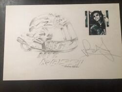 Valentino Rossi Original Hand Drawing And Signed By Rossi