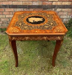 Vintage Italian Inlaid Games Table Card Chess Roulette Backgammon Poker Etc