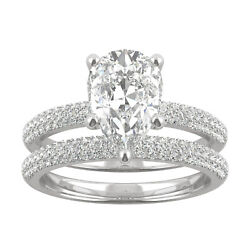 White Gold Moissanite By Charles And Colvard 10x7mm Pear Bridal Set 2.84cttw Dew