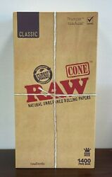 Raw Classic King Size Cone1400 Count Pre Rolled Hemp Conesfactory Box