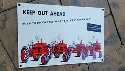 Vintage Old Farmall Farm Tractor Porcelain Gas And Motor Oil Heavy Metal Sign