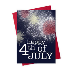 July 4th Greeting Card Set Of 25 Cards And 26 Red Envelopes - Jf1503