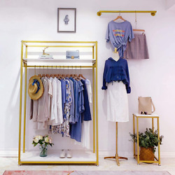 Metal Clothes Display Rack Free Standing Garment Clothing Rack With Wooden Shelv