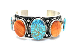 Native American Sterling Silver Kingman Turquoise Spiny Oyster Cuff Bracelet