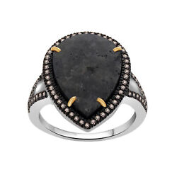Heavy 7.02 Ct Black Rough And Brown Diamond 18k Gold And Sterling Solitaire Ring 7.5
