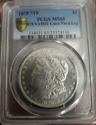 1878 7tf Morgan Dollar Pcgs Ms65 Vam 31 Lines Thru Leg