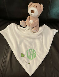 Brown Bear Baby Security White Blanket Lovey Plush Monogrammed for Free Soft $26.95