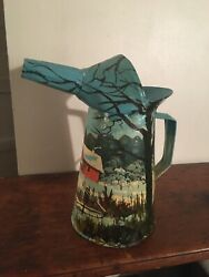 Hand Painted Antique Oil Can Signed
