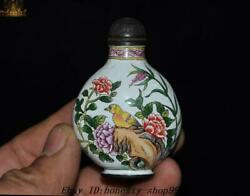 Marked Chinese Palace Dynasty Bronze Cloisonne Flower Bird Statue Snuff Bottle