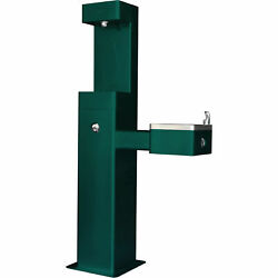 Outdoor Bottle Filling Station And Drinking Fountain Green Powder Coat