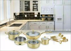 Gold-plated Pan Set With Utensils By Ca Lefort 3-layer Titaniumstainless Steel
